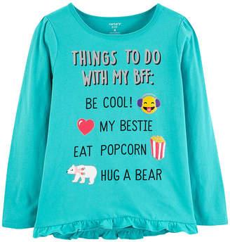 Carter's Graphic T-Shirt-Preschool Girls Girls Round Neck Long Sleeve Graphic T-Shirt Preschool / Big Kid