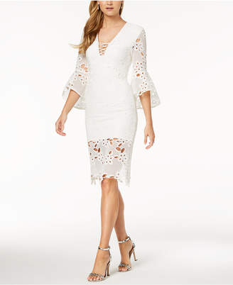 Bardot Lace Bell-Sleeve Dress