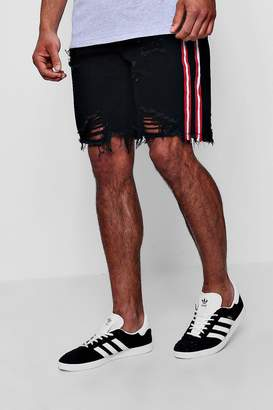 boohoo Bermuda Denim Shorts with Printed Side Stripe
