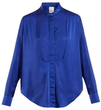 Maison Rabih Kayrouz Charmeuse Bib Panel Blouse - Womens - Blue