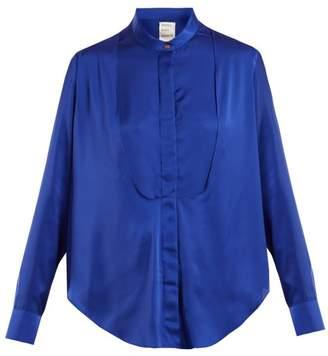 Maison Rabih Kayrouz - Charmeuse Bib Panel Blouse - Womens - Blue