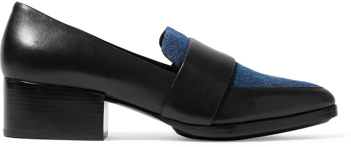 3.1 Phillip Lim3.1 Phillip Lim Quinn denim-paneled leather loafers