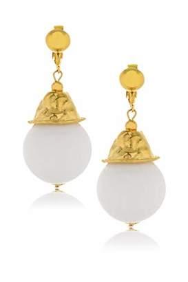 Kenneth Jay Lane CELINE White Resin Earrings