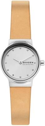 Skagen Freja Stainless Steel, Crystal Leather-Strap Watch