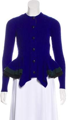 Sacai Luck Cable Knit Peplum Cardigan