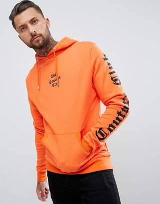 Couture The Club muscle fit hoodie in orange with sleeve print
