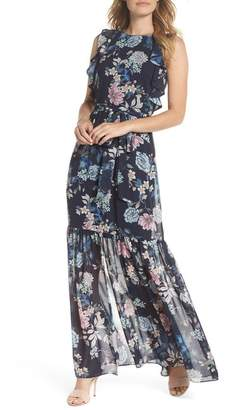 Vince Camuto Ruffle Chiffon Maxi Dress (Regular & Petite)