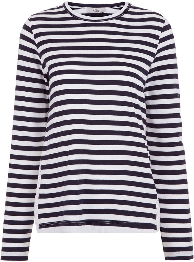 Clu Clu Navy & White Striped Lace Panel Top
