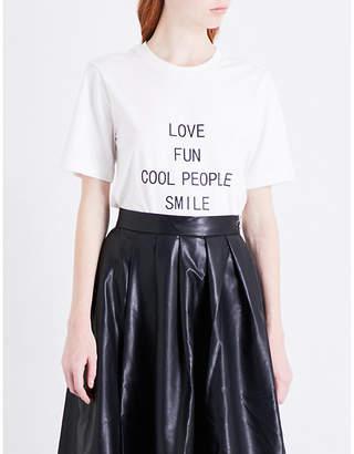 Mo&Co. Slogan-print cotton-jersey T-shirt