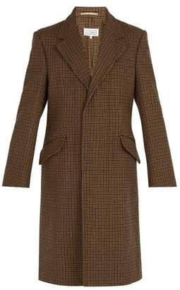 Maison Margiela Houndstooth Wool Coat - Mens - Brown