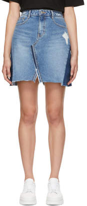 Sjyp Blue Denim Cut-Off Miniskirt