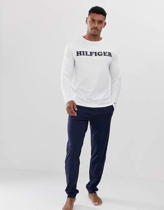Tommy Hilfiger lounge set with white long sleeve and navy authentic waistband lounge pants