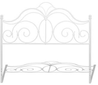 Fashion Bed Group Rhapsody Metal Headboard Panel with Delicate Scrolls and Finial Posts, Glossy White Finish, California King