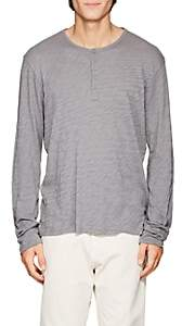 ATM Anthony Thomas Melillo MEN'S DISTRESSED SLUB COTTON HENLEY - GRAY SIZE S