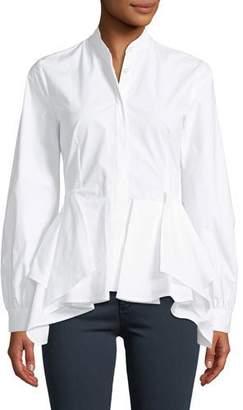 Josie Natori Long-Sleeve Button-Front Ruffle-Bottom Cotton Top