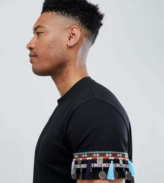 Asos DESIGN Tall festival relaxed longline t-shirt with geo-tribal coin sleeve taping