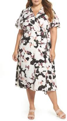 1 STATE 1.STATE Wrap Front Midi Dress