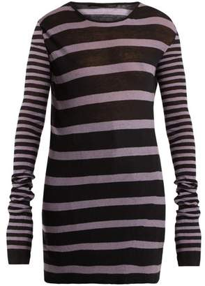 Haider Ackermann Round Neck Striped Cotton Blend Sweater - Womens - Black White