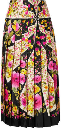 Gucci Pleated Floral-print Silk-twill Midi Skirt