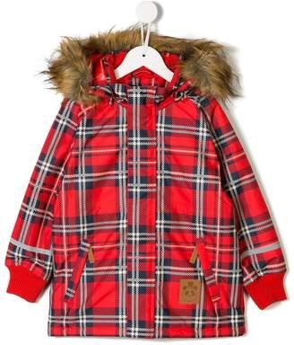 Mini Rodini checked hooded coat