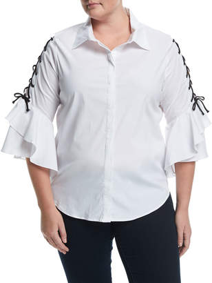 Lea & Viola Plus Lace-Up Sleeve Poplin Shirt, Plus Size