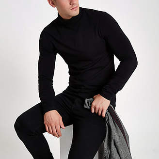 River Island Black muscle fit roll neck T-shirt