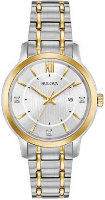 Bulova Women's Diamond Dress Diamond-Accent Two-Tone Stainless Steel Bracelet Watch 32mm, Created for Macy's