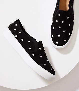 LOFT Embroidered Daisy Slip On Sneakers
