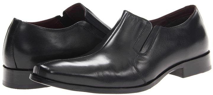 Johnston & Murphy Shaler Center Seam Slip-On (Black Calfskin) - Footwear