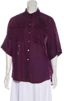 Burberry Short Sleeve Button Up Blouse