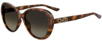 Jimmy Choo Amirags Round Mirrored Sunglasses w/ Glitter Logo