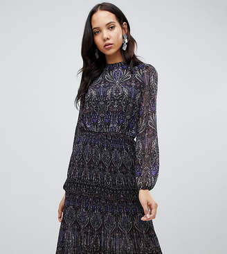 Vero Moda Tall long sleeve floral pleated midi dress in purple