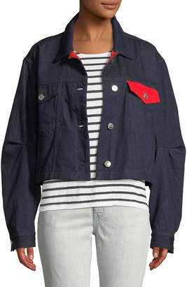Current/Elliott Collin Cropped Colorblock Denim Jacket