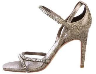 Calvin Klein Collection Embossed Crystal-Embellished Sandals