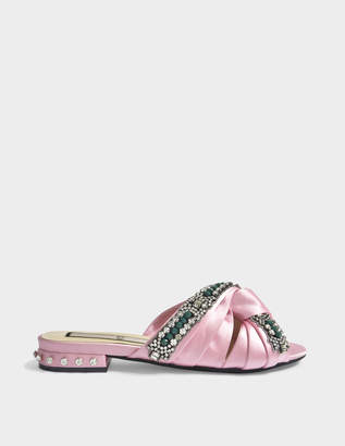 N°21 N21 Satin Mule Shoes with Crystal Details in Pink Synthetic Fabric