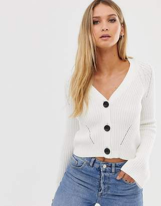 Asos Design DESIGN cropped boyfriend cardigan in rib