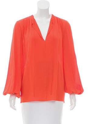 Michael Kors Tie-Accented Long Sleeve Blouse