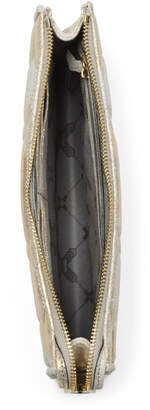 Leather Magnolia Wristlet Clutch