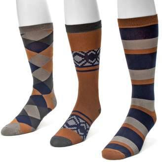 Muk Luks Men's 3-pack Patterned Crew Socks