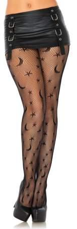 Women's Stars and Moon Stockings Hosiery, Black, O/S