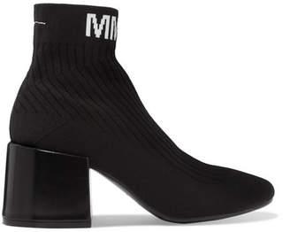 MM6 MAISON MARGIELA Logo-jacquard Ribbed Stretch-knit Sock Boots - Black