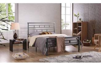Hodedah Complete Grey Metal Bed, Multiple Sizes