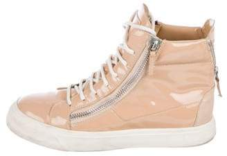 Giuseppe Zanotti Patent Leather Zip High-Top Sneakers