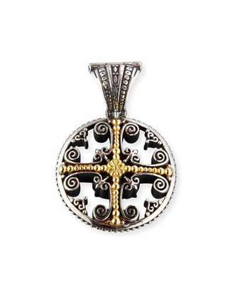 Konstantino Etched Sterling Silver Pendant with 18K Gold Cross