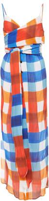 Mara Hoffman Thora Wrap-Effect Checked Tencel Maxi Dress
