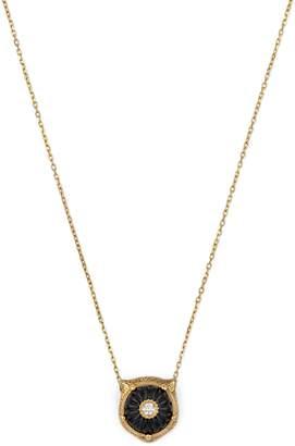 Gucci Feline Head Diamond & Onyx Pendant Necklace