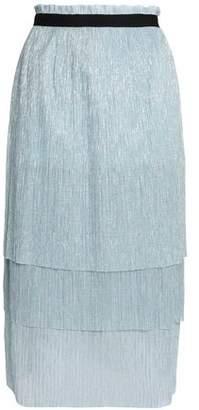 Maje Tiered Metallic Knitted Midi Skirt