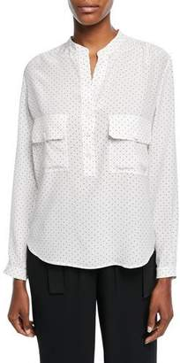 Vince Polka-Dot Long-Sleeve Silk Utility Shirt