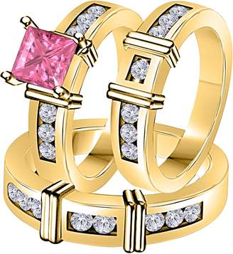 Express DreamJewels 2.10 Carat (Ctw) Synthetic Pink Sapphire Princess Cut & Round CZ Diamond 14k Yellow Gold Over Engagement His & Her Wedding Engagement Trio Ring Set In Shipping