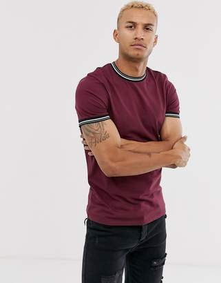 Asos Design DESIGN t-shirt with tipping in burgundy